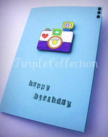 Birthday Cards, blue birthday card, camera birthday card