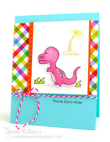 Pink Dinosaur card by Tessa Wise for Newton's Nook Designs