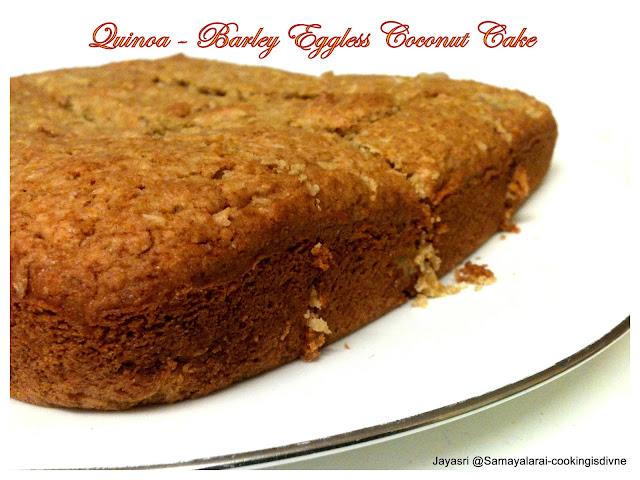 Quinoa – Barley Eggless Coconut Cake for eggless Baking