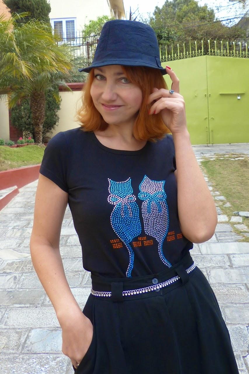Rhinestones cats t-shirt worn with button down skirt and rhinestones belt
