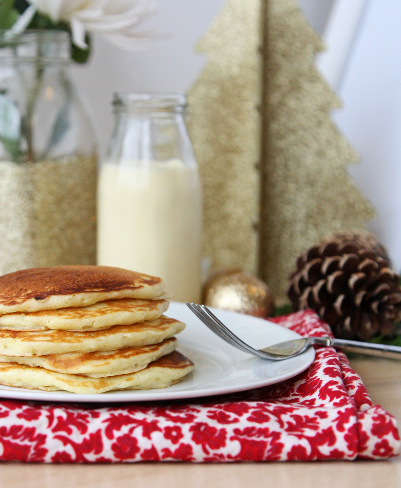 Easy and festive eggnog pancakes. Perfect for Christmas Eve or Christmas morning!