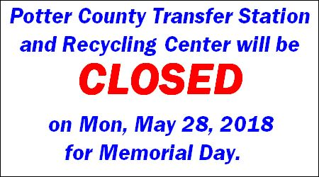 5-28 Closed Memorial Day