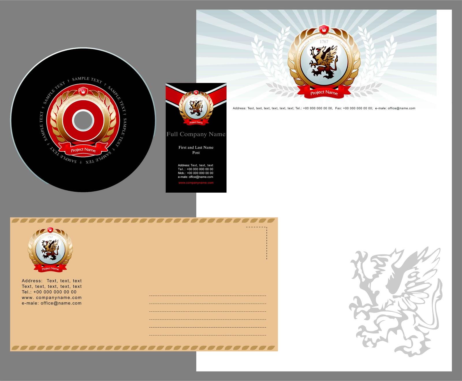 Template kartu nama plus kop surat, lop &; label cd