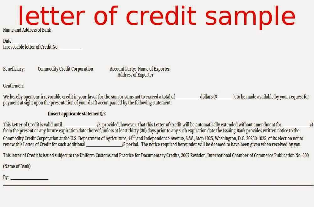 Letter Of Credit Sample | Letter Of Credit Sample Format | Letter Of Credit  Format |