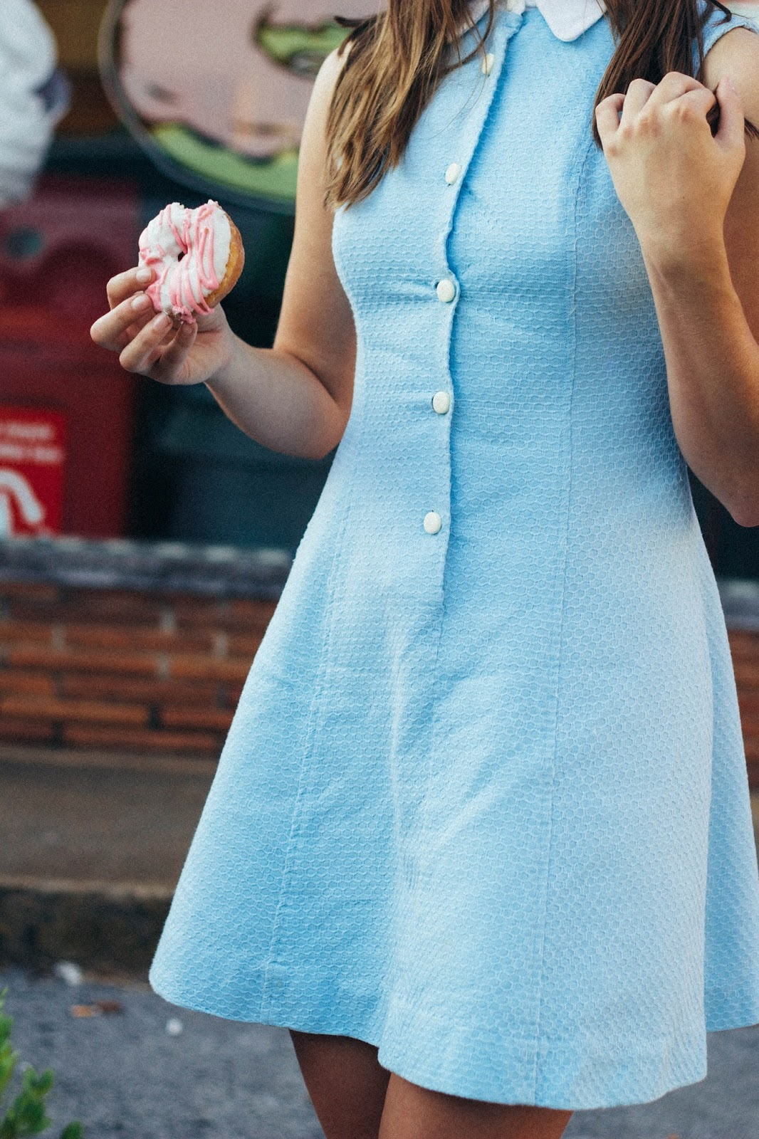 retro, blue, peter pan collar dress, vintage, vintage style, retro style, 1960's style, 60's style, light blue, red shoes, forever 21, chattanooga, tennessee, julie darling donuts, chattanooga shooting, personal style blogger, movie blogger, film, photography, lana del rey style, mad men style, mad men, girly, cute, mod, heartbreaker, screenwriting, costume design, styling,