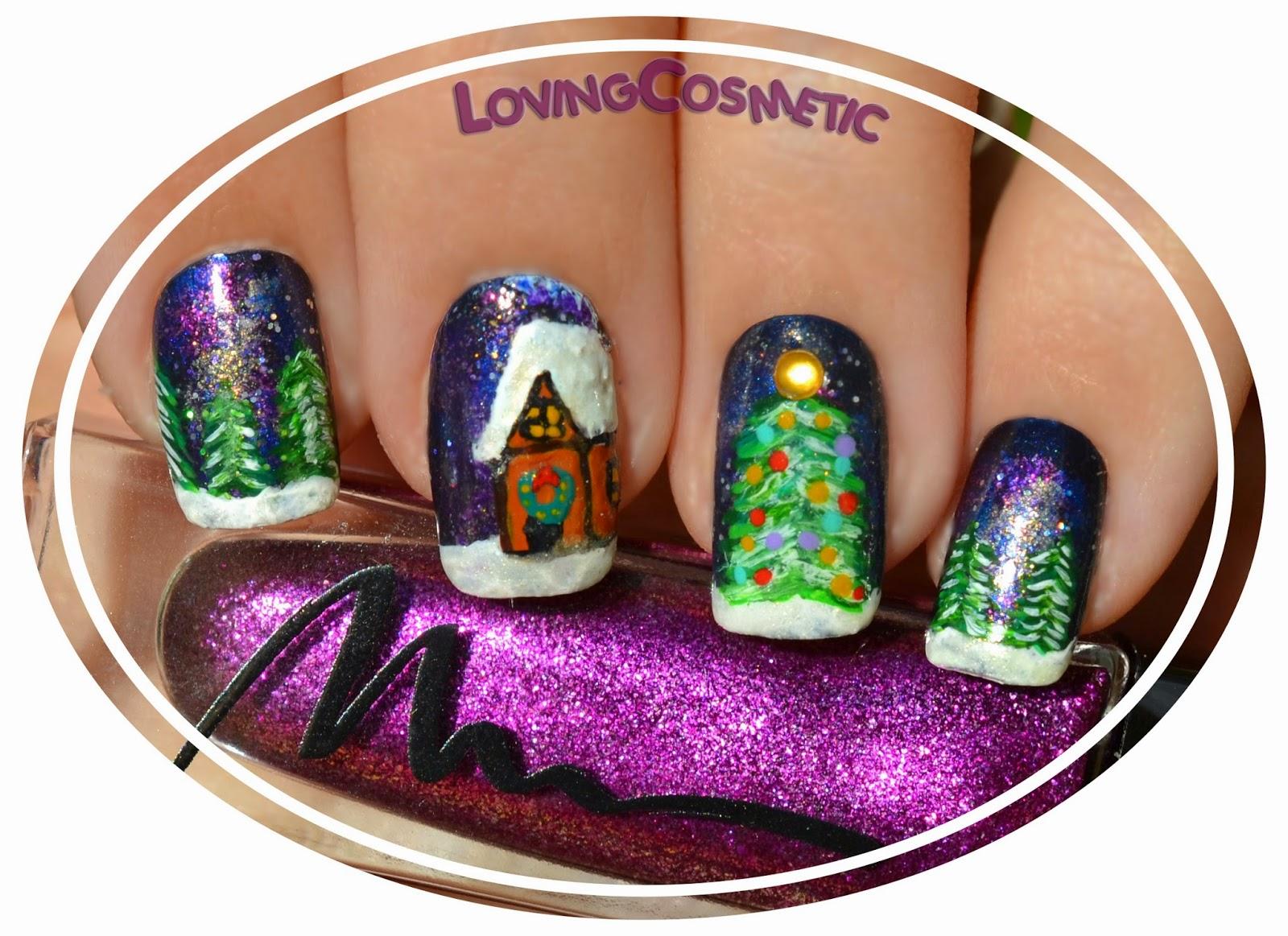 Nail art nails paisaje navideño landscape christmas acrylic acrilicos chanel dior marionnaud