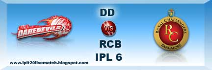 IPL Season 6 DD vs RCB Live Streaming Video and Squad Cricket Profile