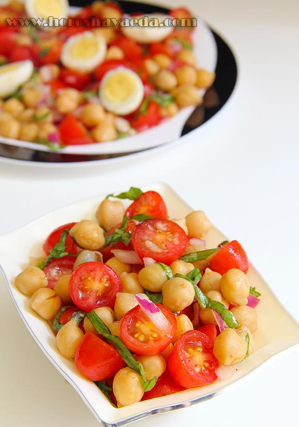 Салат с нутом, помидорами и базиликом