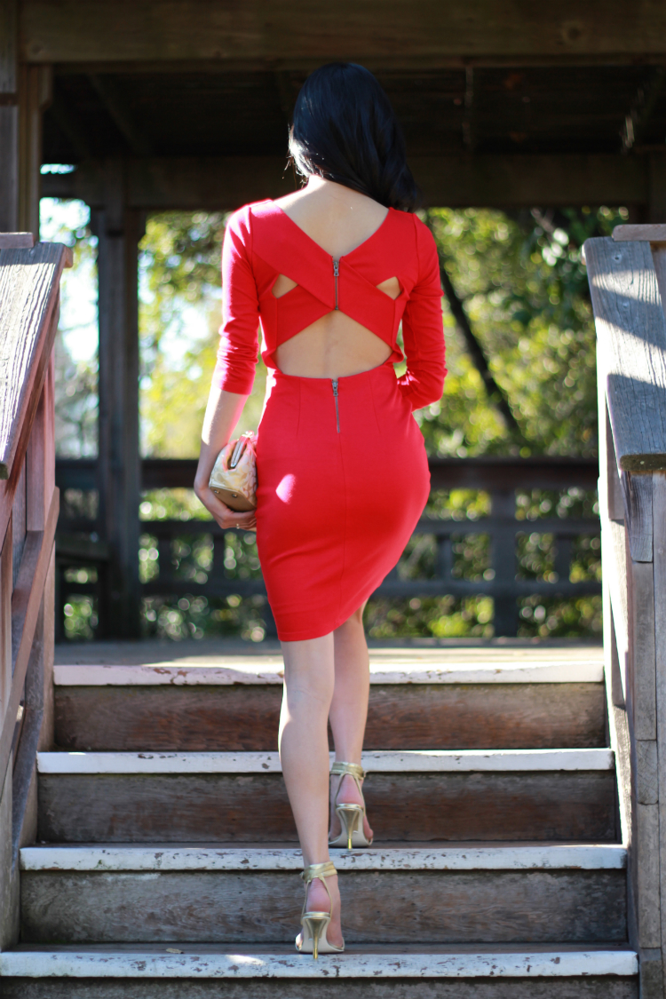 alice and olivia crisscross backless red dress
