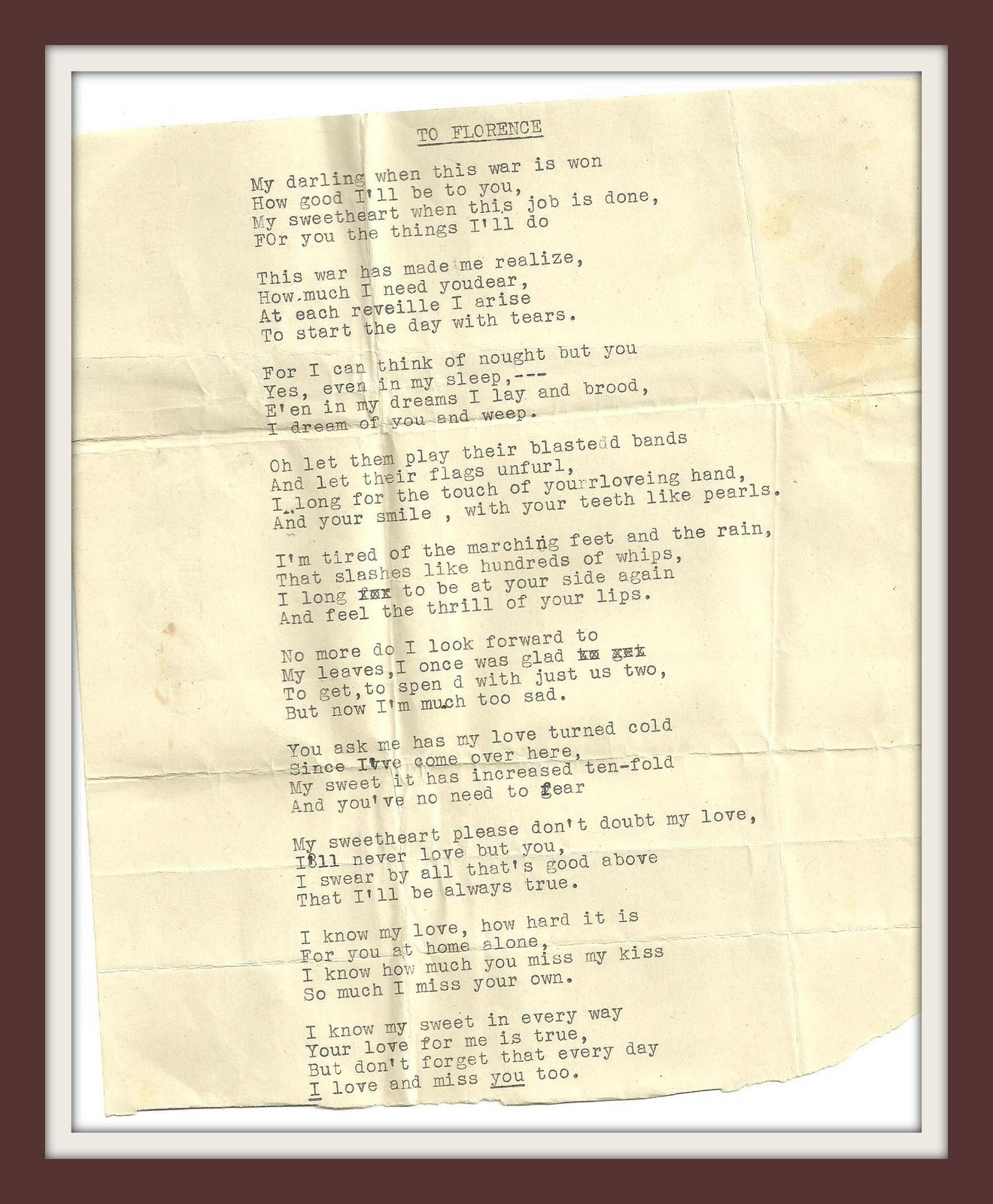Felicianation Ink: More Poetry From WWII - A soldier's letters to ...