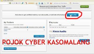 Add Site pada Dashbord Situs Alexa