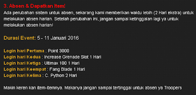 Absen Harian Point Blank PB Januari 2016