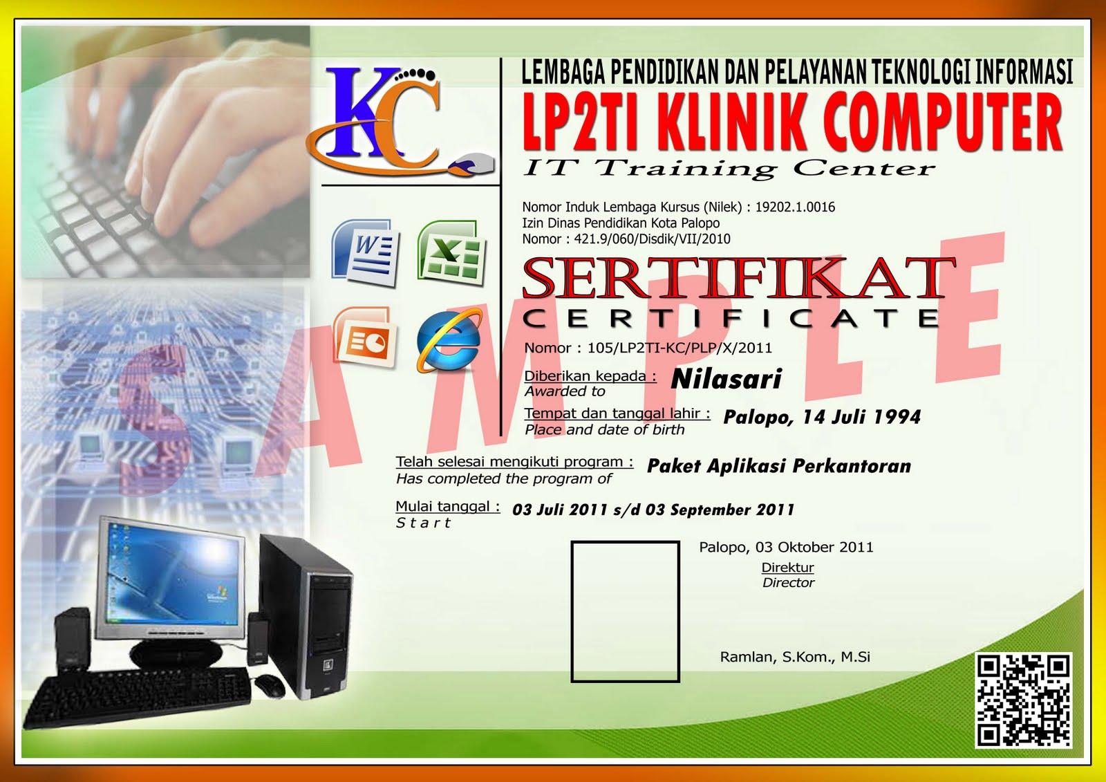 Contoh Sertifikat Aplikasi Perkantoran :