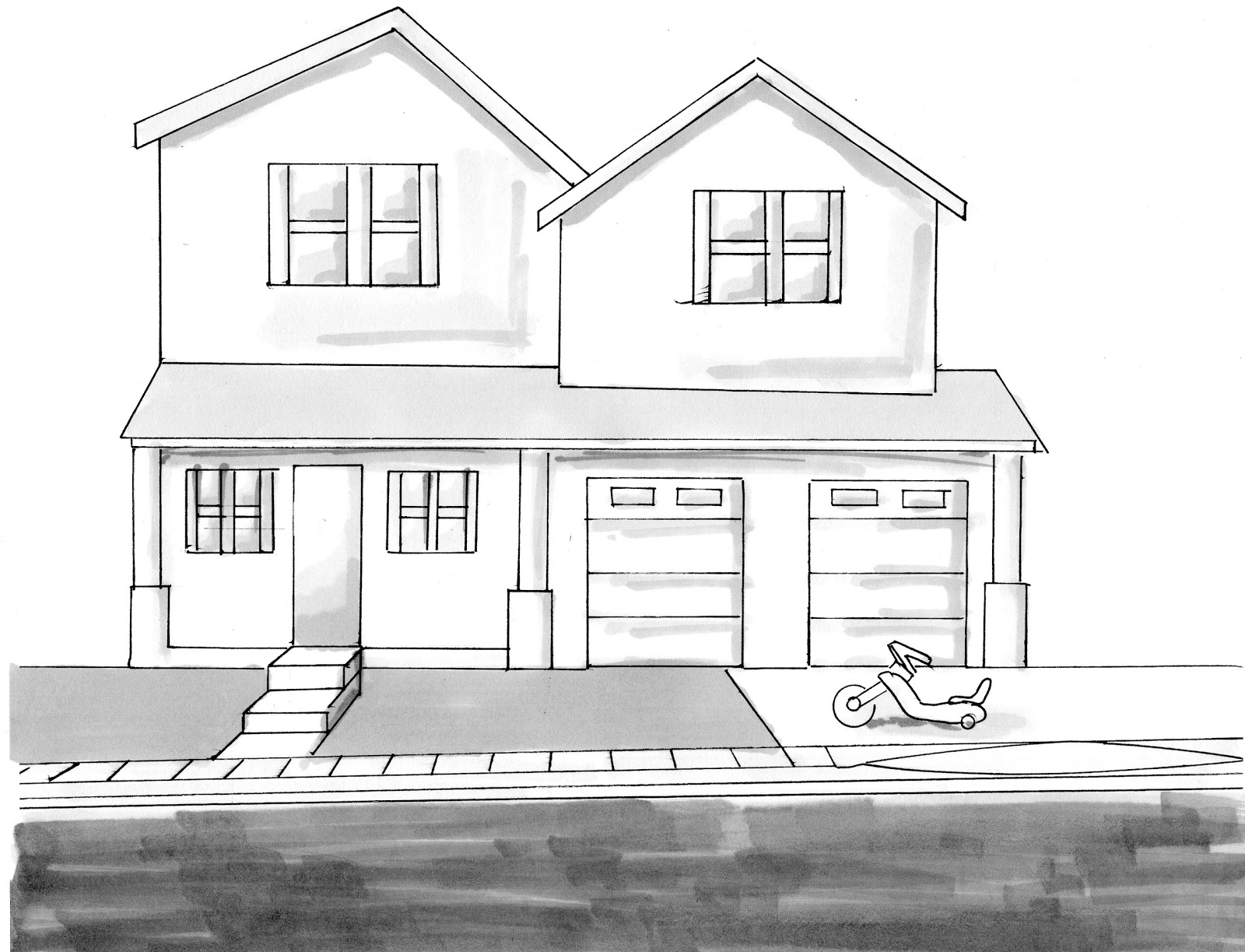 Drawing of house from up 3d drawing for Home design drawing