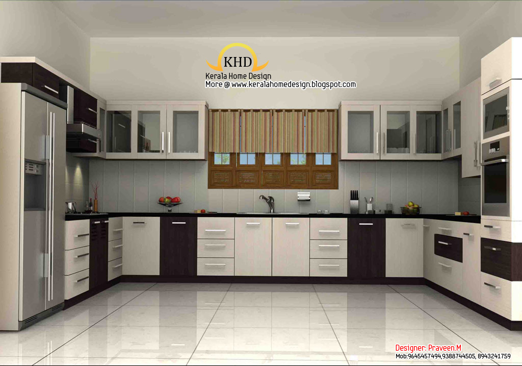 3d rendering concept of interior designs kerala home for Interior decoration of kitchen pictures