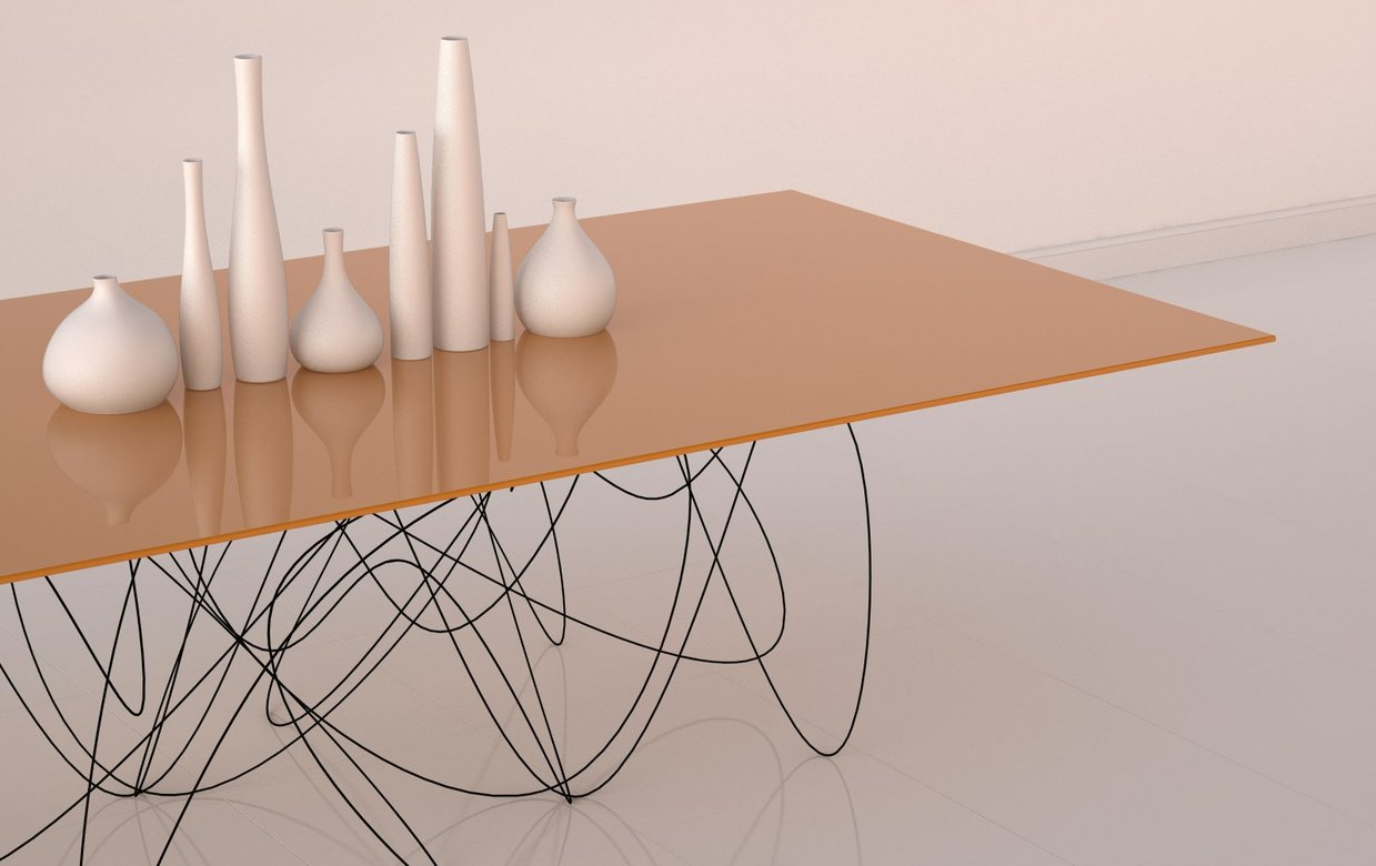 ... Table That Interprets What The Movement Or Path Of Subatomic Particles  Might Look Like. Heavy Gauge Steel Wire Is Hand Formed, Then Powder Coated  Black.