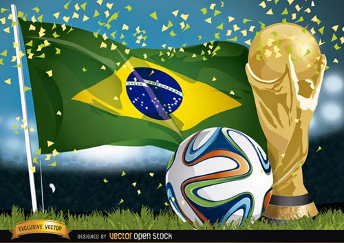 Brasil 2014 Football, Trophy and Flag