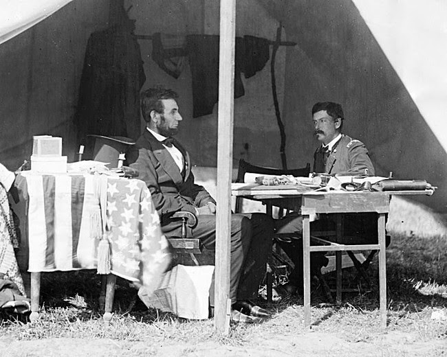 historic photography Abraham Lincoln and General George McClellan 3 October, 1862