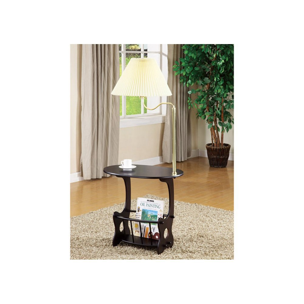 End table with built in lamp - Magazine Side Table With Built In Lamp And Magazine Rack Holder