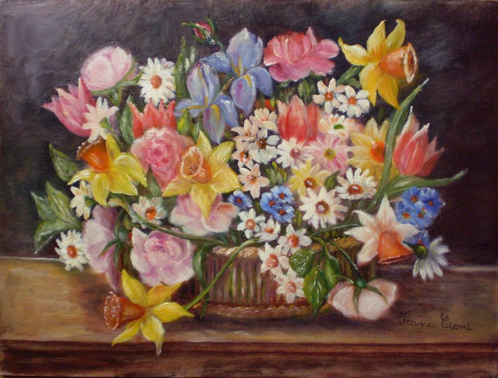 Franca cioni dipinti e poesie cesto di fiori for Immagini di fiori dipinti