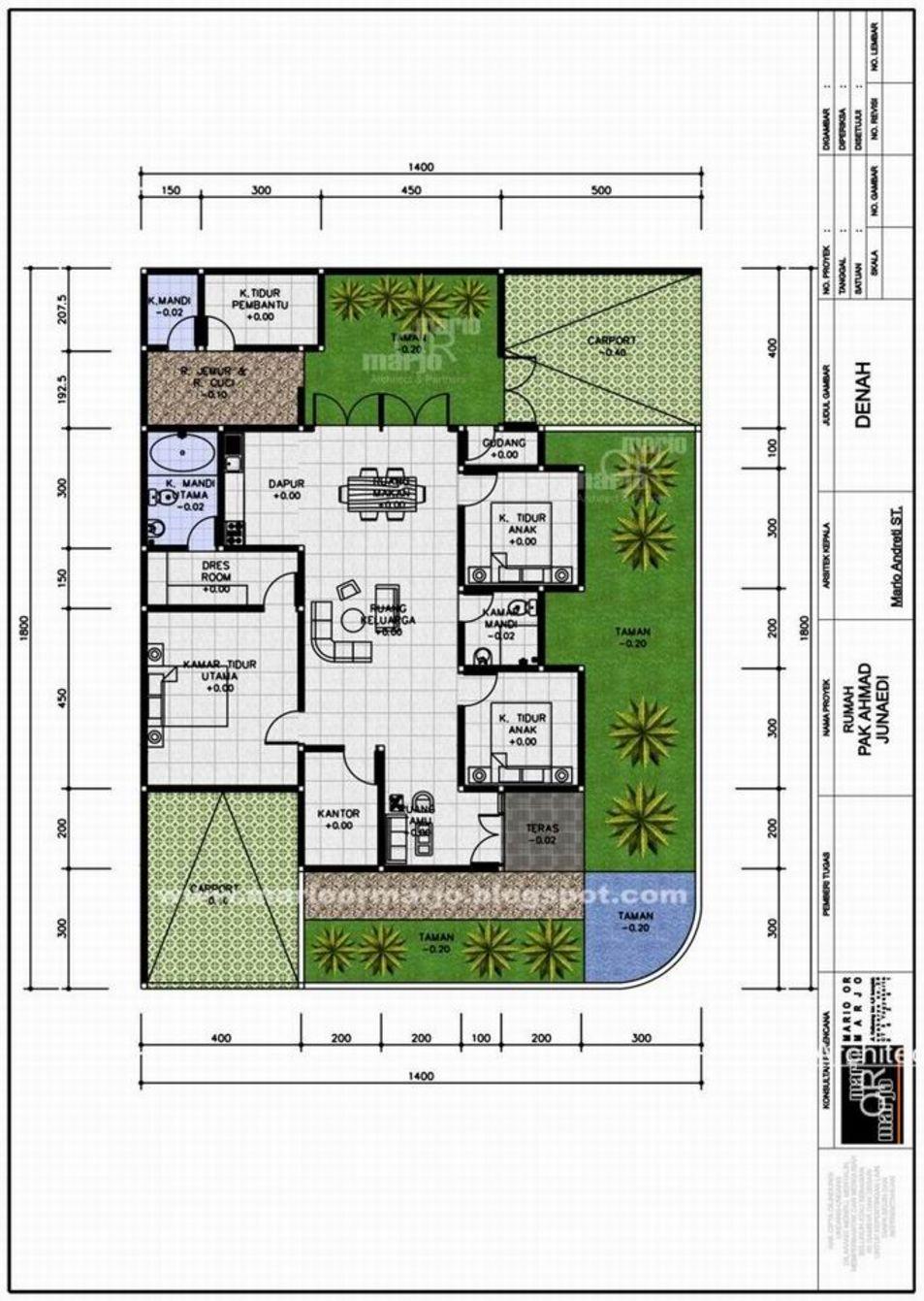 model denah rumah 4 kamar tidur idaman