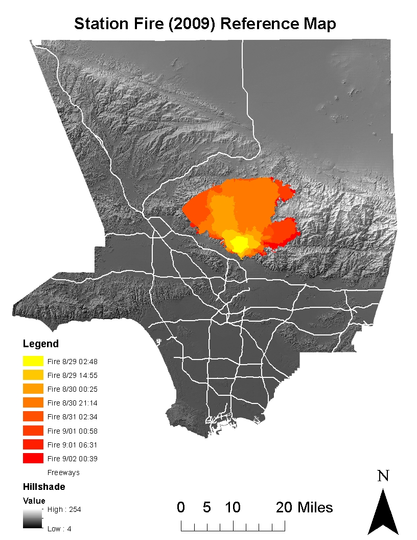 from the reference map and the google map we see that the burning areas spread to north rapidly across the angeles national forest and expanded about 20