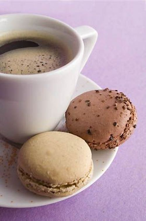 after lunch: long black with brown macaroons
