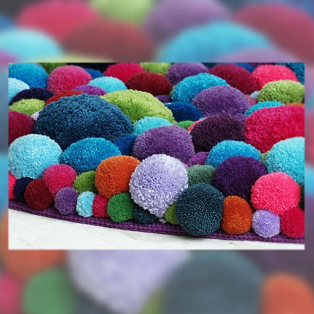 Decorar con divertidos pompones decoraci n - Alfombra de pompones ...