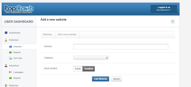 sebelum menambahkan kode ke blog, anda harus menambahkan website dulu caranya :