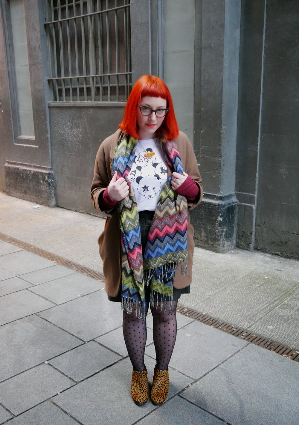 Scot Street Style, Glasgow street style, Scottish Blogger, Edinburgh Blogger, red head style, Brat and Suzie Panda Tshirt, Vintage leather skirt, Duo leopard boots, Sugar and Vice necklace, Glasgow