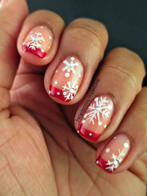 China Glaze Ruby Pumps, french tip, frenchie, red, red tip, Christmas, snowflake, nails, nail art, nail design, mani