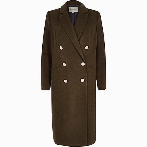 khaki military coat, khaki river island coat, double breast khaki coat, river island khaki coat, river island long coat,