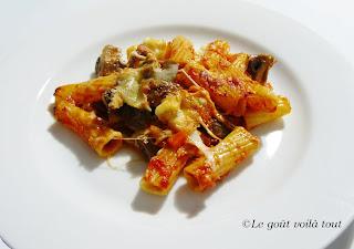 Gratin de pâtes aux champignons et mozzarella