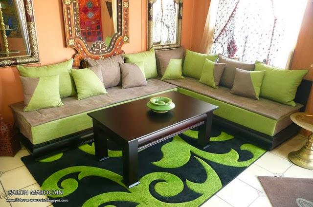 salon marron et vert salon d coration maison - Salon Marocain Moderne Orange Marron