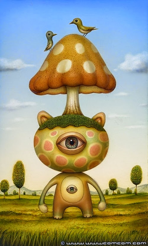 23-Shroomhead-Bear-Naoto-Hattori-Dream-or-Nightmare-Surreal-Paintings-www-designstack-co
