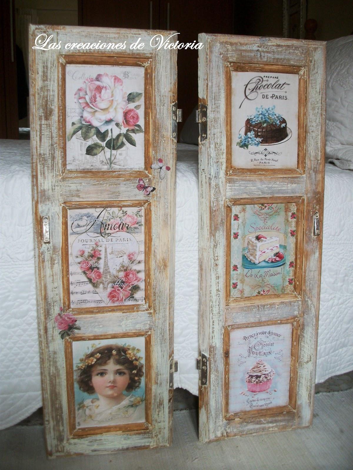 Las creaciones de Victoria.Contraventanas decoupage. Vintage.Reciclaje