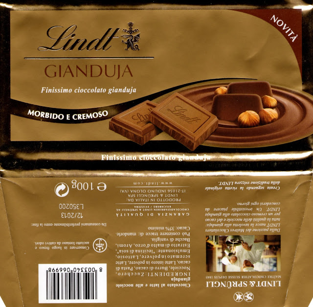 tablette de chocolat lait gourmand lindt gianduja