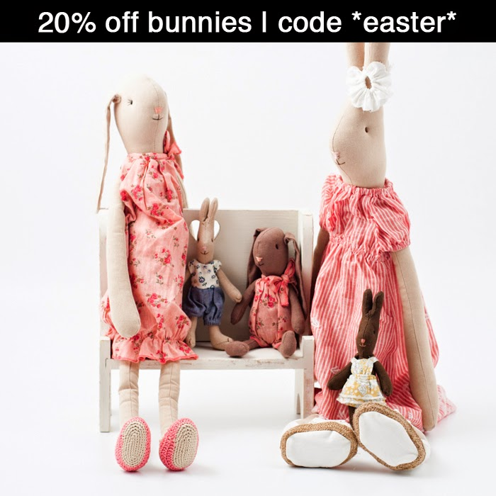 20% off bunnies with the code *easter*
