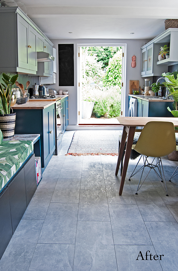 Wide Shot of kitchen with concrete laminate floor and palm bench seat