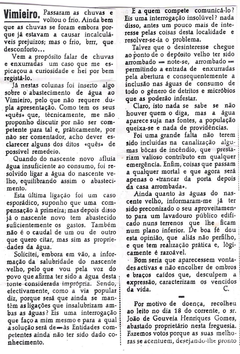 Fontanário do Vimieiro 1950