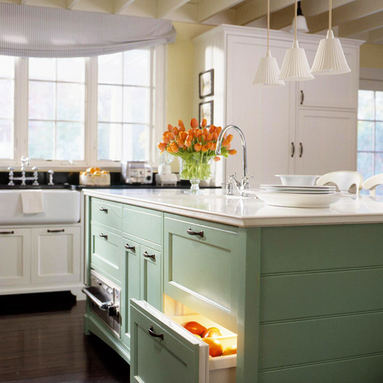 light green kitchen white cabinets light green and white