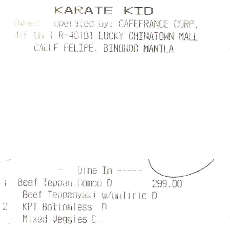 Karate Kid receipt