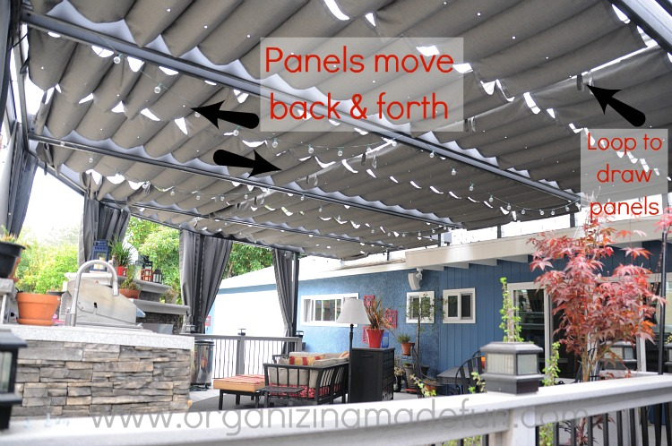 Our new amazing patio cover organizing made fun our for Outdoor fabric patio covers