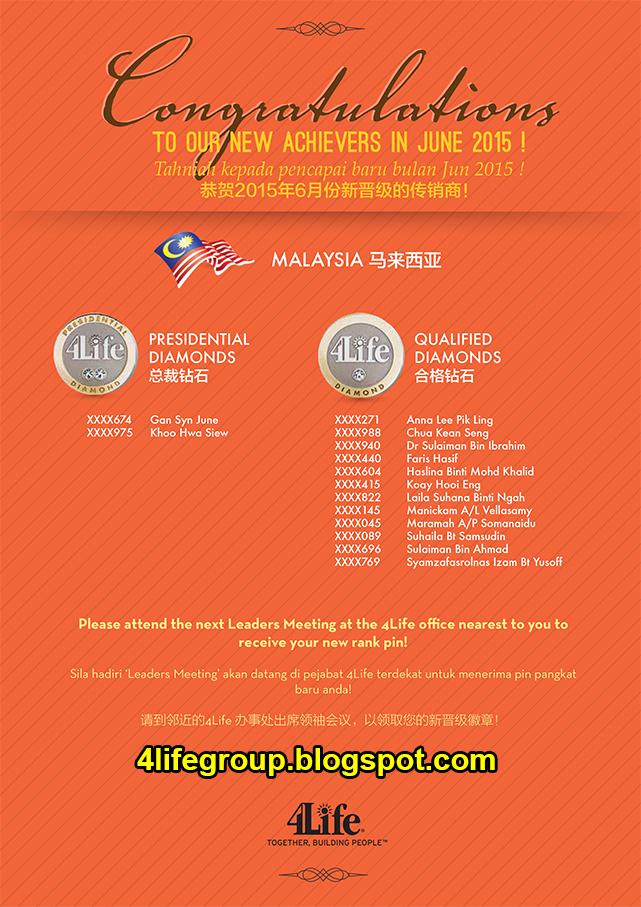 foto Pencapai Pangkat Baru Jun 2015 4Life Malaysia