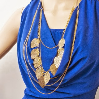 Fashion Bohemian Style Multi-layer Leaf Leaves Long Necklace Chain 3 Colors HMY