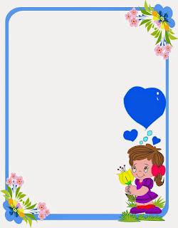 Caratula para niñas de kinder - Niña con marco azul