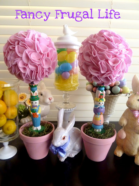 crafts for easter: goodwill candlesticks to easter topiaries