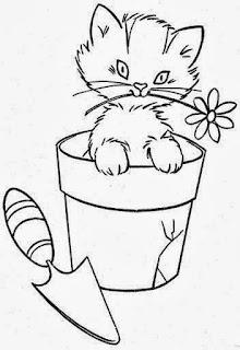 desenho de gatinho no vaso  para pintar