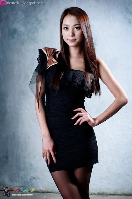 2 Ju Da Ha - Black Mini Dress-very cute asian girl-girlcute4u.blogspot.com