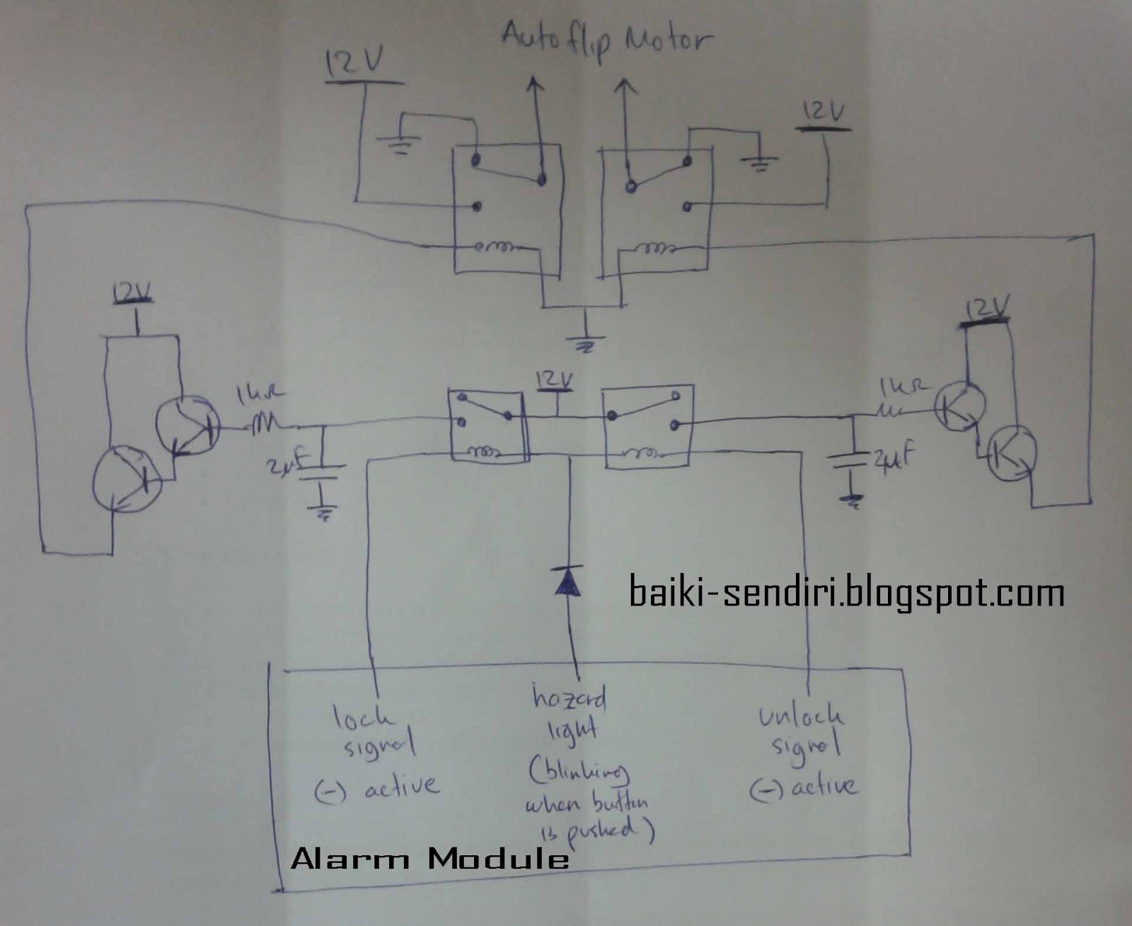 Circuit Diagram: Honda Prelude 3rd BA5 With Alarm + Auto Flip Side Mirror